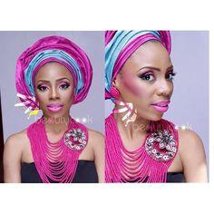 Nigerian wedding color series look book by Beautycook Studio fuchsia pink gele