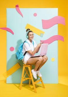 Portrait of schoolgirl on a memphis background Free Photo Creative Fashion Photography, Creative Photos, Photo Zone, Photoshop Photos, Bunt, Portrait Photography, Backdrops, Photo Editing, Photoshoot