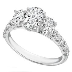 Three Stone Oval Diamond Cathedral Engagement Ring Pave Band - ES1203OV