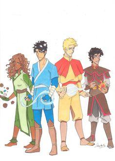 Benders of Olympus. Hazel as an earthbender, Percy as a waterbender, Jason as an airbender, Leo as a firebender.