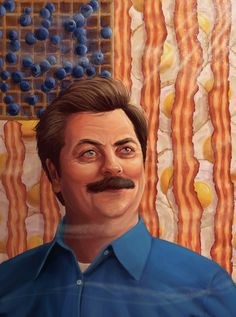 An illustration of Ron Swanson from Parks and Rec