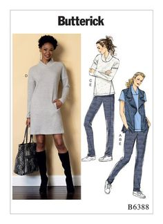 Butterick activewear sewing pattern. B6388 Lapped Collar Tops and Dress, Draped Collar Vest, and Pleated Pants