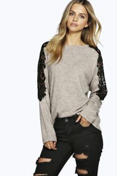 Alice Lace Trim Jumper at boohoo.com