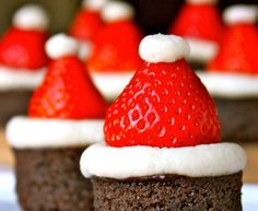 Learn how to make the famous santa hat brownies
