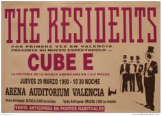 THE RESIDENTS - Arena Auditorium, Valencia, SPAIN 1990 Music Posters, Concert Posters, Valencia Spain, Auditorium, Musica, Gig Poster