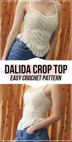 crochet Dalida Crop Top pattern crochet Dalida Crop Top pattern - easy crochet top pattern for beginners Crochet Summer Tops, Crochet Halter Tops, Crochet Shirt, Crochet Crop Top, Crochet Cardigan, Cropped Tops, Crochet Design, Crop Top Pattern, Mode Crochet