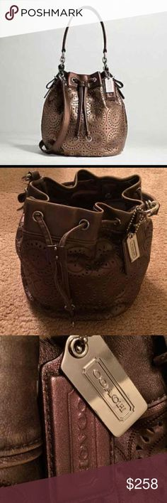 New Rare Edition Coach Drawstring Bag New with tags, never used. Coach 17071 Madison Laser Cut Op Art Marielle Drawstring Puple Coach Bag Retail $358.00 Make offers. Coach Bags Hobos