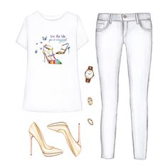 Printed T-shirt, white jeans, nude heels