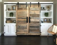 Shanty 2 Chic sliding barn door desk / entertainment center
