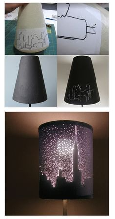 Project – City Lights Lampshade. To make a city skyline view first you have to print or draw a city skyline silhouette on a piece of paper. Then fix it on the lampshade with tape. Using common pins make holes in the lampshade along the lines of the silhouette. You can make some holes bigger for a star shine effect. When done with poking remove the paper and voila. You can try as many patterns as you like.
