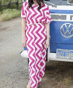 Love this White Plum Pink & White Zigzag Boyfriend Maxi Dress by White Plum on #zulily! #zulilyfinds