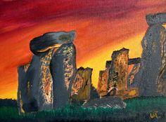 Oil painting of Stonehenge Sunrise based on a magazine photo. 125. Original / Prints available