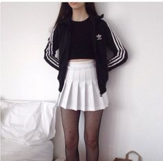 jacket adidas black black and white pale grunge tennis skirt tights skirt white skirt pleated skirt mini skirt pleats black fishnets fishnet tights