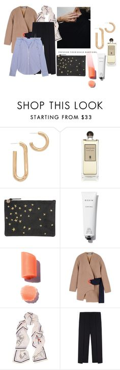 """###"" by parisheartschic ❤ liked on Polyvore featuring Pamela Love, Serge Lutens, Rodin, Jacquemus, Valentino, rag & bone and Theory"