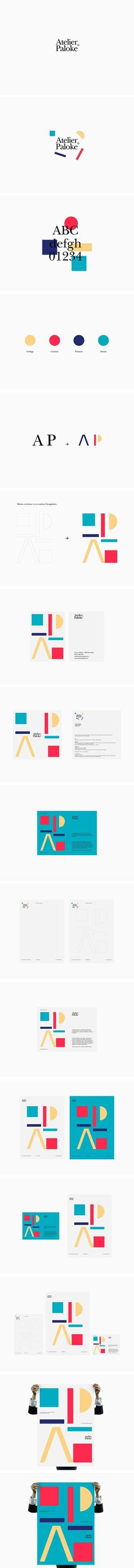 Atelier Paloke, playful geometry branding identity logo stationery business cards design