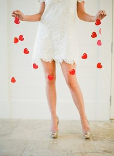 heart garland...made with paint chips and a paper punch. easy DIY