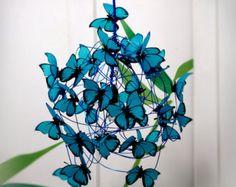 """Chandelier Rainbow butterflies decor for kids, nursery Lighting, One of a kind design butterflies rainbow colors chandellier Lampe mit türkisfarbenen Schmetterlingen """"Feeling Blue"""" Kids Crafts, Diy And Crafts, Arts And Crafts, Paper Crafts, Home Crafts, Butterfly Pendant, Blue Butterfly, Butterfly Lamp, Butterfly Kids"""