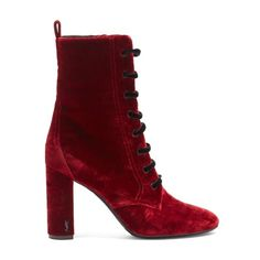 Saint Laurent Loulou lace-up velvet ankle boots (2 380 PLN) ❤ liked on Polyvore featuring shoes, boots, ankle booties, red, laced up ankle boots, lace-up boots, victorian lace up boots, red ankle boots and velvet booties