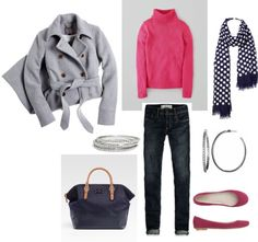 """""""Pink, Navy and Gray"""" by bluehydrangea on Polyvore"""
