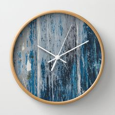 Weathered wood clock, distressed wall clock, navy beach theme clock, boat hull clock, blue home decor grunge wall clock blue weathered paint - pinned by pin4etsy.com