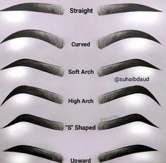 Eyebrow Chart Guide to your brows Different types of eyes . - Eyebrow Chart Guide to your brows Different types of straight eyebrows - Eyebrows Sketch, How To Draw Eyebrows, Drawing Eyebrows, How To Thread Eyebrows, Eye Brow Drawing, Makeup Drawing, Different Types Of Eyes, Different Eyebrow Shapes, Arched Eyebrows