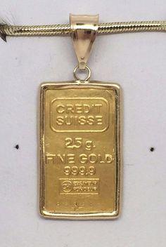 CREDIT SUISSE 2.5 GRAMS 24KT BUILLION BAR 999.9 FINE GOLD IN 14KT PENDANT #CREDITSUISSE #Pendant