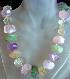 Multicolor Necklace Natural Rose Quartz Citrine and by camexinc, $45.00