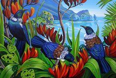 Piha North -med by Irina Velman - prints Tui Bird, Maori Patterns, New Zealand Art, Nz Art, Raven Art, Maori Art, Kiwiana, Wildlife Art, Beach Art