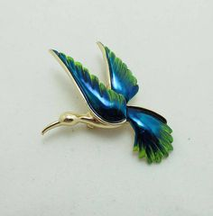 Bird Brooch Pin Blue Green Enamel Gold Tone Signed Gerry's