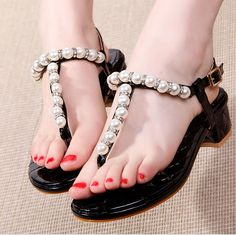 Summer new style pearl crystal decoration fashion pretty sandals XD- HJ817