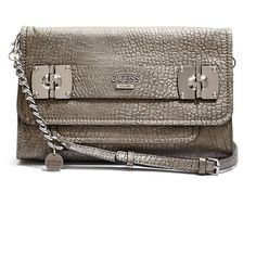 GUESS Frankee Metallic Cross-Body Clutch ($93) ❤ liked on Polyvore featuring bags, handbags, clutches, pewter, genuine leather handbags, brown purse, leather crossbody handbags, leather crossbody purse and metallic leather handbags