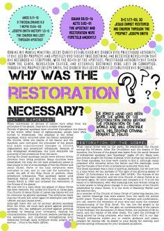 Come Follow Me Lesson Handout - Restoration - LDS - Young Women Young Women Lessons, Young Women Activities, Spiritual Church, Spiritual Thoughts, Lds Church, Church Ideas, Lds Scriptures, Lds Youth, Printables