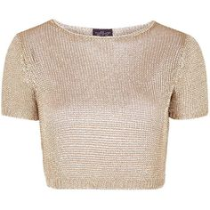 TOPSHOP PETITE Metal Yarn Tee ($70) ❤ liked on Polyvore featuring tops, t-shirts, shirts, crop tops, crop, petite, rose gold, topshop, crop t shirt and petite shirts