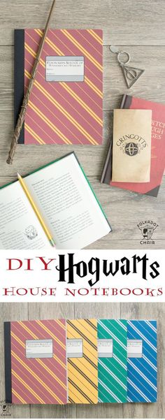 Harry Potter Craft Idea – The Polka Dot Chair DIY Hogwarts Inspired House Notebooks; Harry Potter Craft Idea – The Polka Dot Chair Harry Potter Diy, Harry Potter Classroom, Theme Harry Potter, Harry Potter Birthday, Harry Potter World, Harry Potter Hogwarts, Harry Potter Notebook, Hogwarts Crest, Harry Potter Things
