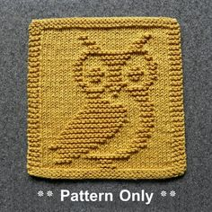 Owl Knit Dishcloth Pattern