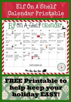 FREE Elf on the Shelf Calendar Printable - we have 24 days of Elf on the Shelf fun for you so you don't have to stress during the holidays with a free supply list too! A Shelf, Shelves, Shelf Elf, Kindness Elves, Elf Magic, Elf On The Self, Naughty Elf, Printable Calendar Template, Free Printable