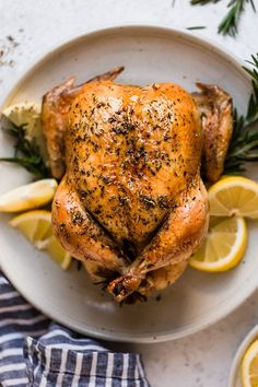 Roast Chicken with Rosemary and Lemon Juicy tender roasted chicken seasoned with lemon and rosemary always a winner in my house! Roast Chicken Seasoning, Roast Chicken Recipes, Keto Chicken, Roasting Chicken In Oven, Chicken Broccoli, Rotisserie Chicken, Baked Chicken, Rosemary Roasted Chicken, Whole Roasted Chicken