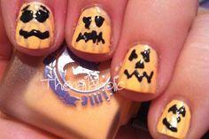 DIY halloween nails: DIY Halloween nail art : Pumpkins!