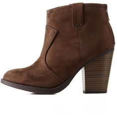 Charlotte Russe Brown Chunky Heel Ankle Booties by Charlotte Russe at... ($43) ❤ liked on Polyvore featuring shoes, boots, ankle booties, brown, faux suede booties, ankle boots, chunky booties, ankle high boots and short boots