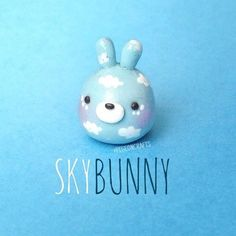 Sky Bunny clouds polymer clay charm