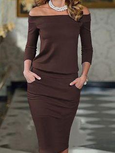 Elegant Slash Neck Pocket Bodycon Pencil Dress Shop- Women's Best Online Shopping - Offering Huge Discounts on Dresses, Lingerie , Jumpsuits , Swimwear, Tops and More. Trend Fashion, Look Fashion, Fashion Tips, Fashion Quotes, Ladies Fashion, Fashion Photo, Girl Fashion, Womens Fashion, Buy Dress