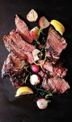 Grilled Steak and Radishes with Black Pepper Butter
