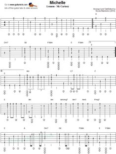 Michelle - fingerstyle guitar tablature 1 #guitarlessons