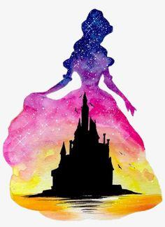 Disney Castle Watercolour Belle Beauty Beautyandthebeas - Disney Princess Watercolor Paintings Transparent PNG - 559x742 - Free Download on NicePNG