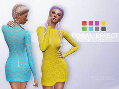 CORAL EFFECT MINI DRESS at Leeloo via Sims 4 Updates