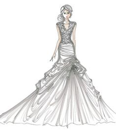 how to draw ruffled dresses | Designer Runway Sketches | Wedding Dresses Blog