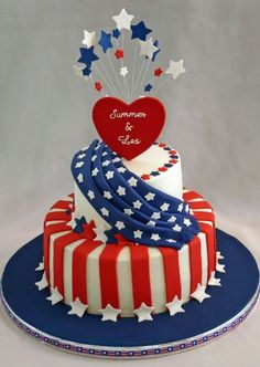 Cake wrecks, cake recipes, cake designs, july of j Pretty Cakes, Cute Cakes, Beautiful Cakes, Amazing Cakes, Fourth Of July Cakes, 4th Of July Celebration, July 4th, Cake Pops, Cake Cookies