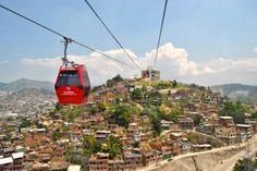 Teleferico ride, birds'-eye-view on favelas