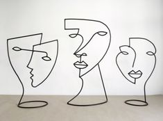 Barcelona Artist Diego Cabezas Brings Line Drawings to Life | Yellowtrace Wire Art Sculpture, Steel Sculpture, Abstract Sculpture, Stylo 3d, Wire Drawing, Simple Line Drawings, Diy Inspiration, Yellow Art, Wire Crafts