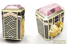 Deco Tower ring in 18ct yellow gold with pink diamonds, aquamarines, black spinel and enamel from www.Armoura.com